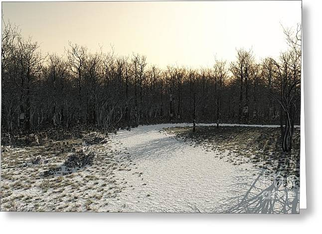 Winter Road Scenes Digital Greeting Cards - Winter Woodland Path Greeting Card by Fairy Fantasies