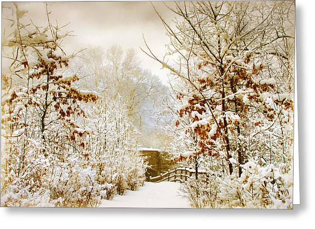 Woods Digital Art Greeting Cards - Winter Woods Greeting Card by Jessica Jenney