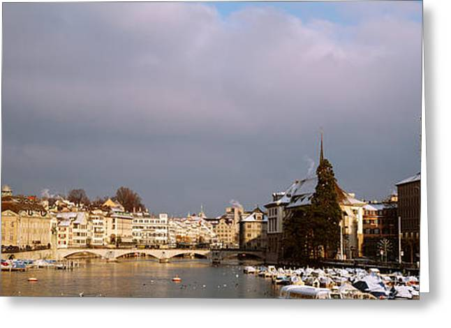 City Buildings Greeting Cards - Winter, Zurich, Switzerland Greeting Card by Panoramic Images
