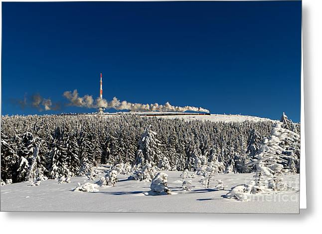 Brocken Greeting Cards - Winterly Brocken mountain with stream train Greeting Card by Christian Spiller