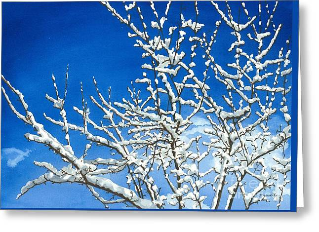 Snowscape Paintings Greeting Cards - Winters Artistry Greeting Card by Barbara Jewell