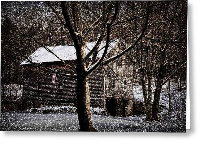 Sheds Greeting Cards - Winters At The Farm Greeting Card by Tricia Marchlik