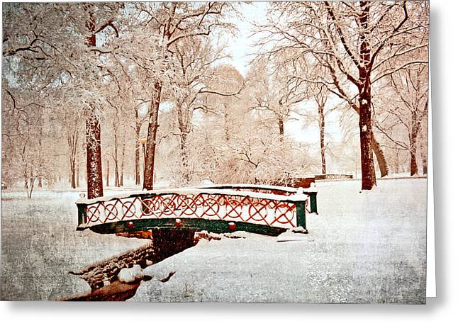 Marty Koch Greeting Cards - Winters Bridge Greeting Card by Marty Koch