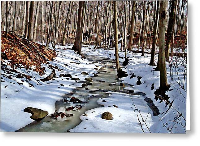Indiana Winters Digital Art Greeting Cards - Winters Creek Greeting Card by BackHome Images