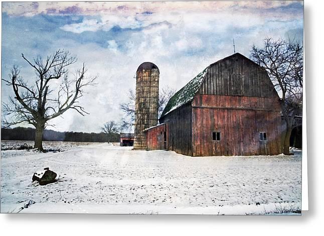 Winters Day Barn Greeting Card by Cheryl Cencich