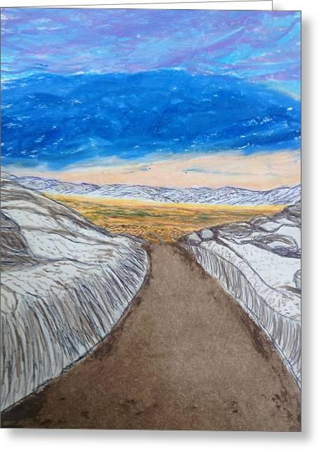Winter Roads Drawings Greeting Cards - Winters Drive  Greeting Card by Christine Degyansky