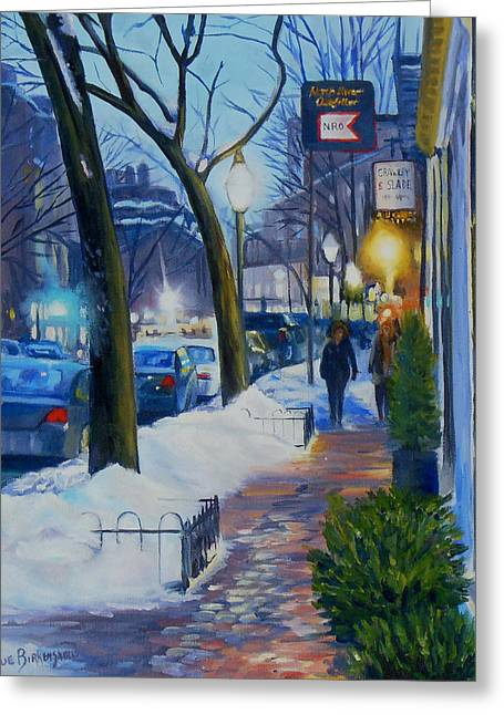 Crawley Greeting Cards - Winter Evening on Charles Street  Greeting Card by Sue Birkenshaw