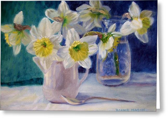 Still Life With Daffodils Greeting Cards - Winters End Greeting Card by Bonnie Mason