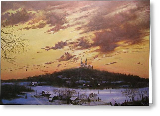Snow Scene Landscape Greeting Cards - Winters Eve at Holy Hill Greeting Card by Tom Shropshire