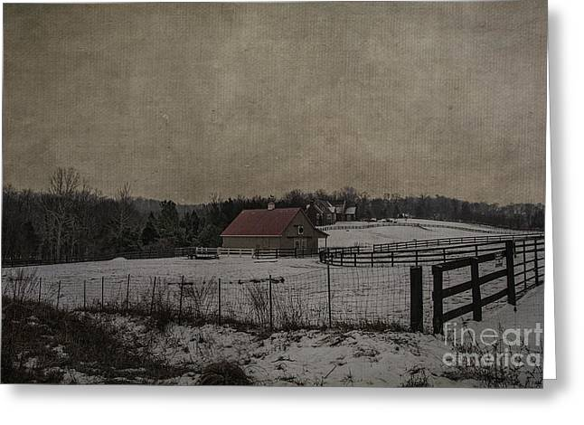 Winter's Farm Greeting Card by Terry Rowe