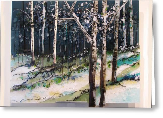 Glass Art Greeting Cards - Winters Glistening Hillside Greeting Card by Alice Benvie Gebhart