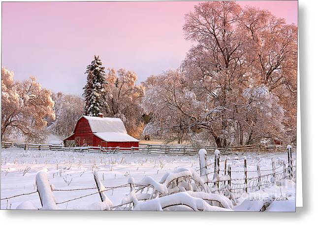 Red Barn In Winter Greeting Cards - Winters Glow Greeting Card by Reflective Moments  Photography and Digital Art Images