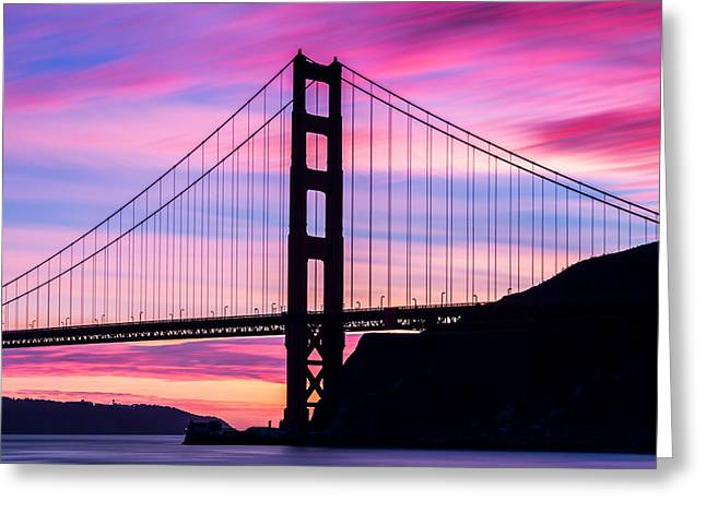 Dave Gordon Greeting Cards - Winters Golden Gate San Francisco California Greeting Card by Dave Gordon