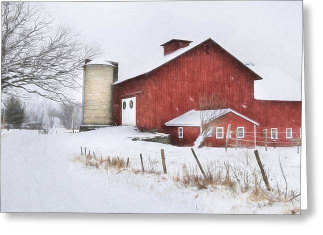 Wintery Barn Greeting Cards - Winters Grip Greeting Card by Lori Deiter