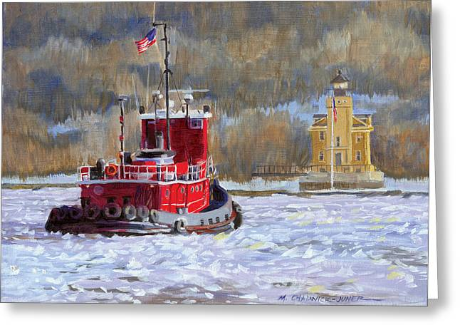Hudson River Tugboat Greeting Cards - Winters Ice-olation Greeting Card by Marguerite Chadwick-Juner