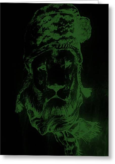 Olive Drab Greeting Cards - Winters Lion Black Olive Green Greeting Card by Rob Hans