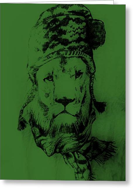 Olive Drab Greeting Cards - Winters Lion Olive Green Greeting Card by Rob Hans