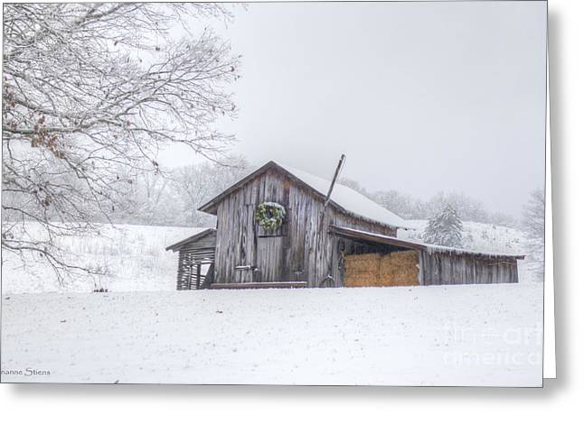 Hay Bales Greeting Cards - Winters Past Greeting Card by Benanne Stiens