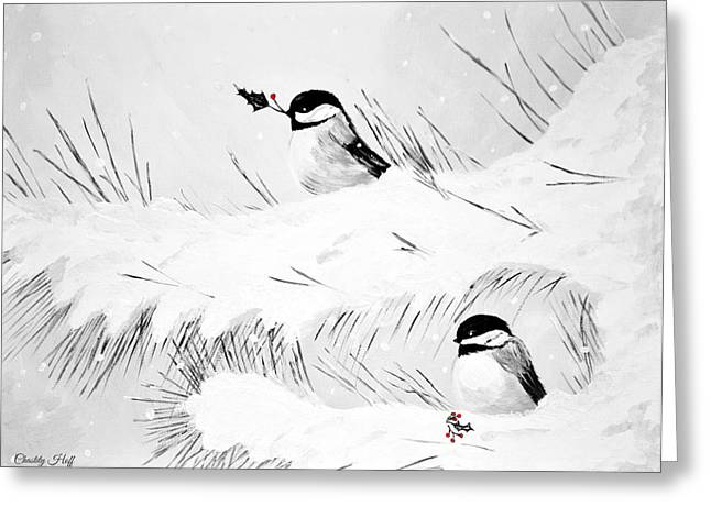 Pine Needles Paintings Greeting Cards - Winters Rest BW Greeting Card by Chastity Hoff