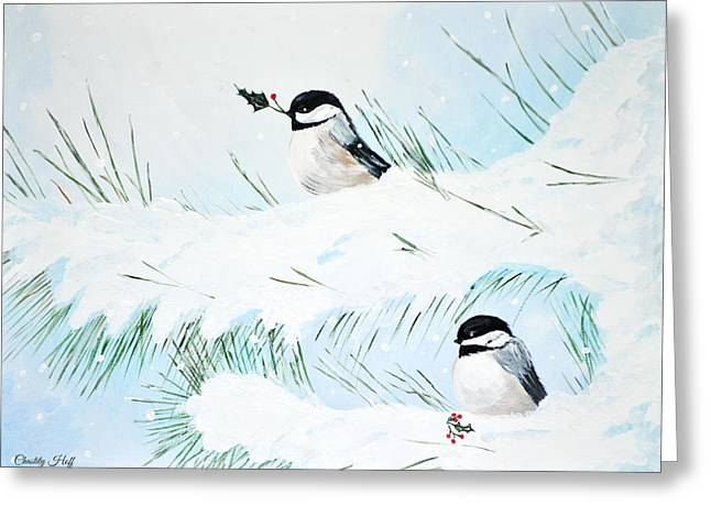 Pine Needles Paintings Greeting Cards - Winters Rest Greeting Card by Chastity Hoff
