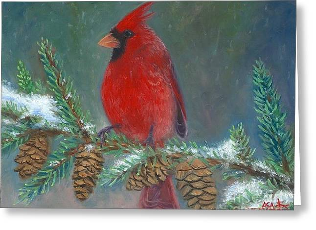 Cardinals In Snow Greeting Cards - Winters Serenity  Greeting Card by Asa Gochenour