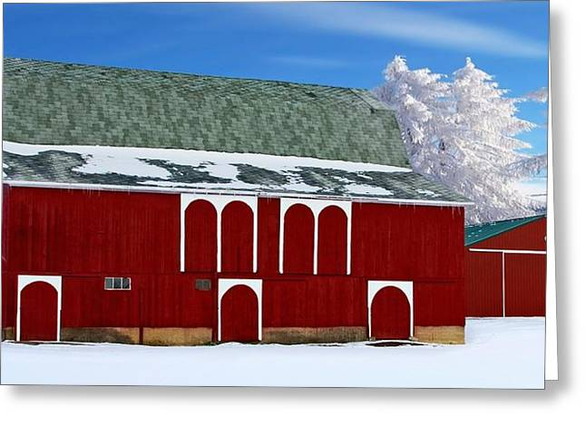 Barn Covered In Snow Greeting Cards - Winters Shine Greeting Card by Pat Cook