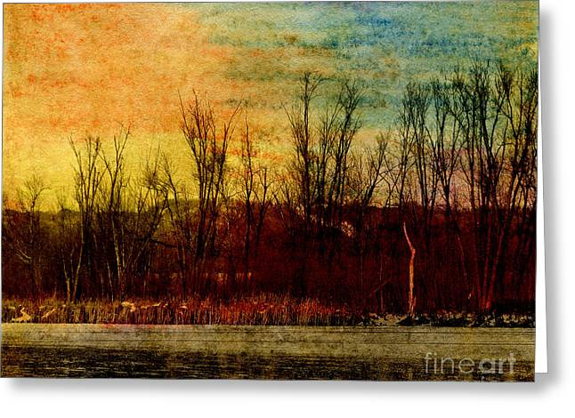 Red Photographs Pastels Greeting Cards - Winters Shore Greeting Card by R Kyllo