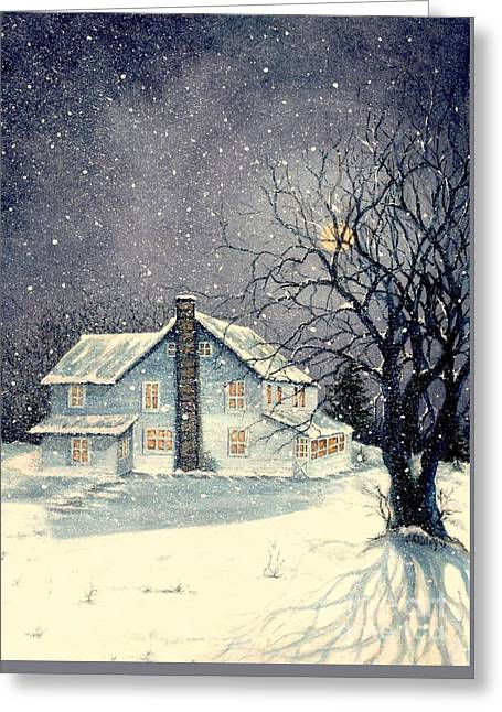 Bare Trees Greeting Cards - Winters silent night Greeting Card by Janine Riley