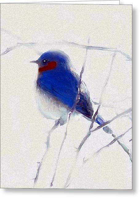 Bird On Tree Mixed Media Greeting Cards - Winters Song Bird Greeting Card by Kemberly Duckett