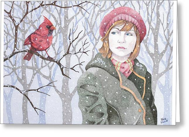 Stipple Greeting Cards - Winters Tale Greeting Card by Jack Puglisi