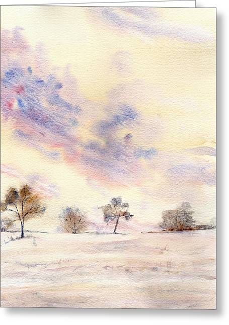 Snow Scene Landscape Greeting Cards - Winters Tale Greeting Card by Shayne Cooper