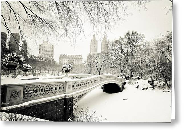 Beautiful Cities Greeting Cards - Winters Touch - Bow Bridge - Central Park - New York City Greeting Card by Vivienne Gucwa