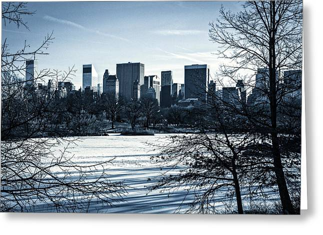 Snowy Day Greeting Cards - Winters Touch - Manhattan Greeting Card by Madeline Ellis
