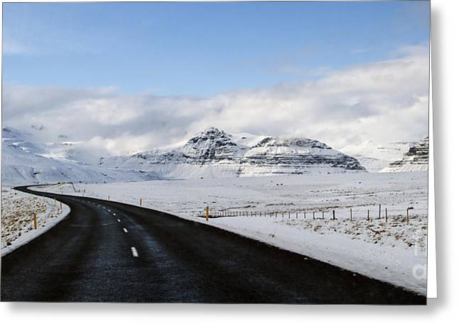 Winter Roads Greeting Cards - Winters Way Greeting Card by Evelina Kremsdorf