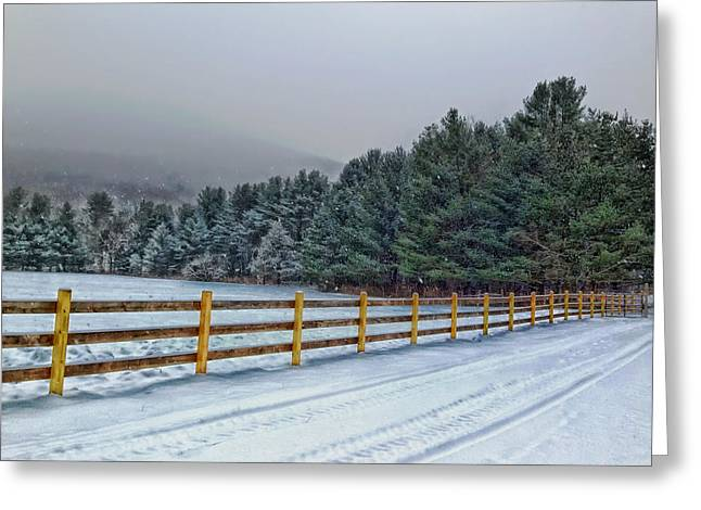 Foggy Road Greeting Cards - Winters Whisper Greeting Card by Mountain Dreams