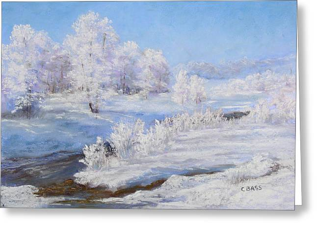Snow Scene Landscape Pastels Greeting Cards - Winters Whites Greeting Card by Christine Bass