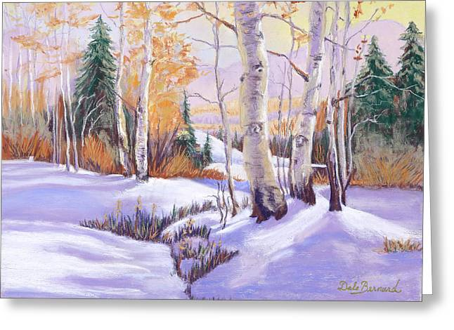 Snow Scene Landscape Pastels Greeting Cards - Winterscape Greeting Card by Dale Bernard