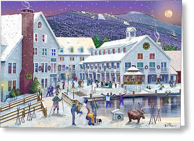 Skiing Christmas Cards Greeting Cards - Wintertime at Waterville Valley New Hampshire Greeting Card by Nancy Griswold
