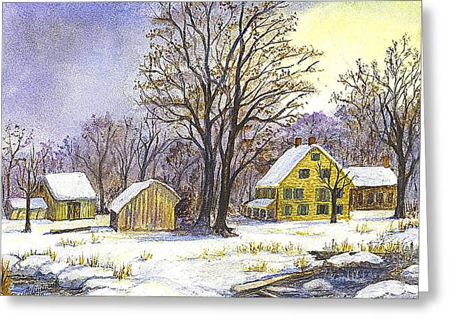 Stone House Drawings Greeting Cards - Wintertime in The Country Greeting Card by Carol Wisniewski