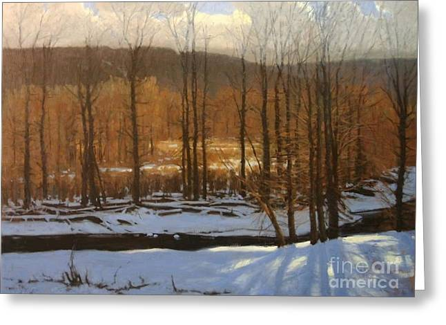 Snow Scene Landscape Pastels Greeting Cards - Winterwoods Greeting Card by Doyle Shaw