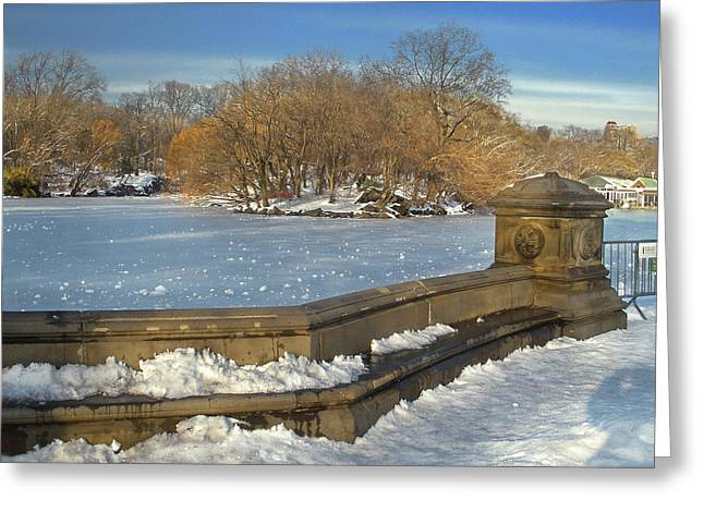 Wintery Afternoon At Bathsheba Terrace Greeting Card by Muriel Levison Goodwin