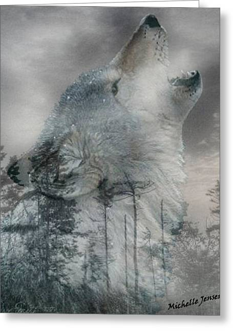 Michelle Mixed Media Greeting Cards - Wintery Howling Wolf Greeting Card by Wishes and Whims Originals By Michelle Jensen