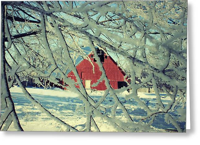 Country Shed Greeting Cards - Wintery Red Barn Greeting Card by Julie Hamilton
