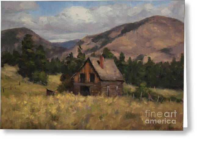Winthrop Paintings Greeting Cards - Winthrop Homestead Greeting Card by Nora Egger