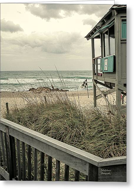 Beach Scenery Greeting Cards - Wintry Beach Day Greeting Card by Julie Palencia
