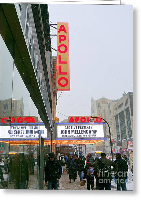 Wintry Day At The Apollo Greeting Card by Ed Weidman