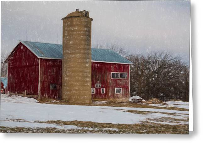 Wintry Mixed Media Greeting Cards - Wintry Day on the Farm 2 Greeting Card by Kathleen Scanlan