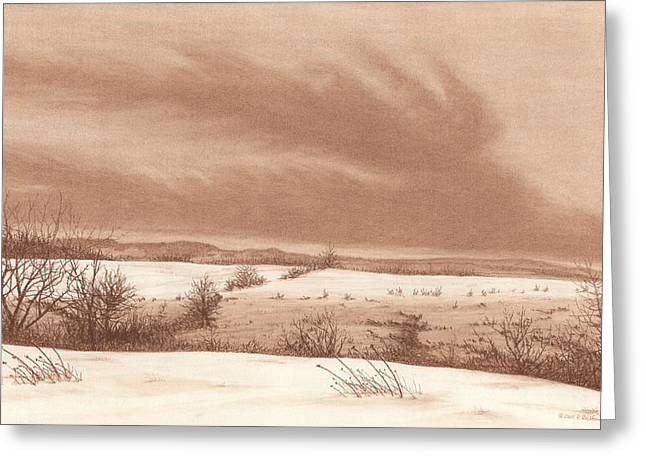 Snow Scene Landscape Pastels Greeting Cards - Wintry Meadow Greeting Card by Peter Rashford