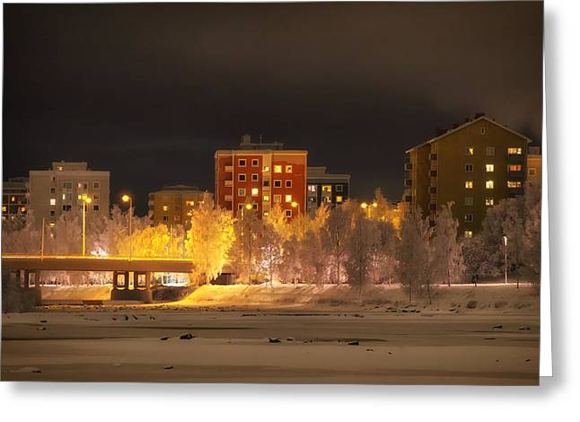 Snowy Night Night Greeting Cards - Wintry Night in Oulu Finland Greeting Card by Mountain Dreams