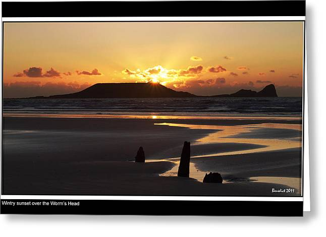 Tidal Photographs Greeting Cards - Wintry sunset Greeting Card by           Benedict